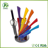 Hot selling low price Yangjiang bright colored non-stick cookware knife set with acrylic stand