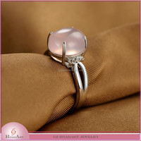 NEW!!! oval Shape crystal Rings, pink color silver Rings