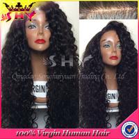 Grade 6A long hair kinky curly malaysian virgin hair full lace wig wholesale