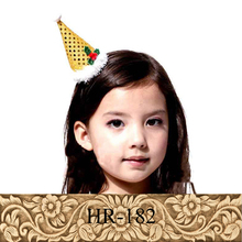 Christmas handmade colorful paillette pointy hat shape kids hairpin for hair