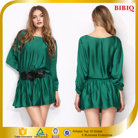New Fashion Long Sleeve One-Piece Green Short Casual Dress