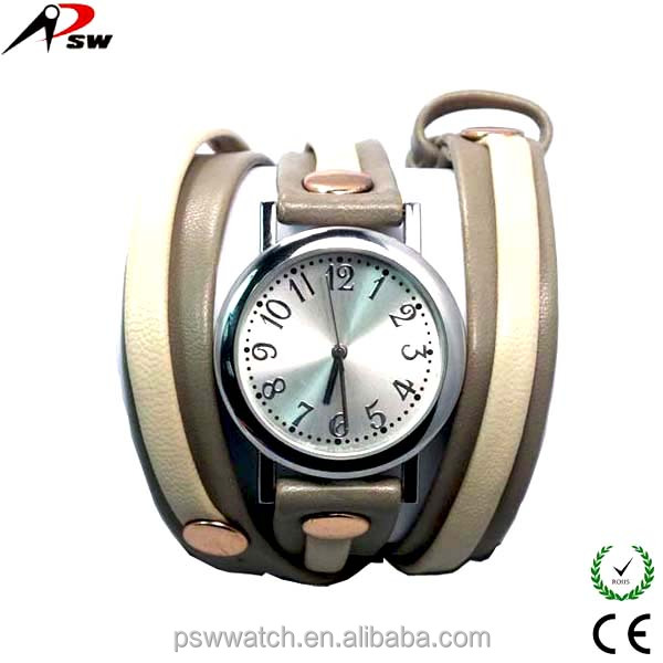 mixed color long strap lady genuine leather watch bracelet watch
