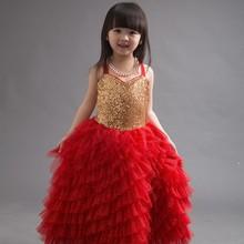 2015 Elegant girl princess dress baby girl sqeuin dress kids ruffle long skirt girl bling bling flower dress