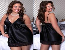 Fashion plus size black imitation silk sexy lingerie for fat women babydoll