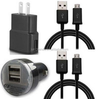 Micro USB Home Wall Charger + Dual USB Car Charger +USB 2.0 Charger Sync Cable For Samsung Galaxy S3 4 Note 2 4 Black