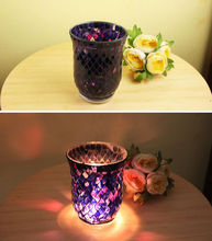 colorful mosaic patch glass candlestick ceramic candle holder