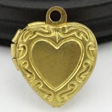 love shape copper locket pendant charm diy supplies