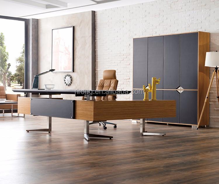 럭셔리 현대 디자인 L 모양의 사무실 책상 가죽 나무 보스 관리자 ...