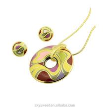 colorful enamel lampwork jewlry set,round plain pendant and earrings(SWTPR1239)