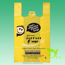 T-Shirt Bag, Yellow color Plastic T-shirt Shopping Bag