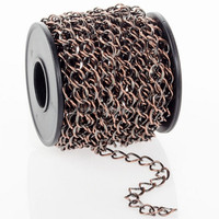 Wholesale Gold Chains, Antiqued Copper Plated Hammered Curb Chain Spool