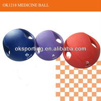 High quality rubber medicine balls with handle