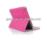 Lovely girl cartoon pattern pu leather case for ipad protective case