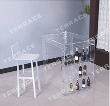Modern acrylic Pub Tables,Lucite mini bar table with wine rack