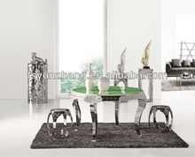 Green circle natural stone table top dining table