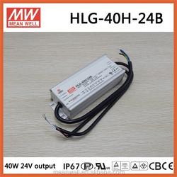 HLG-40H-24B 24v 1.67a Meanwell CE TUV PSE CB PFC CUL led driver 40w waterproof IP67