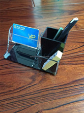 Office use handmade acrylic pen holder design with card holder