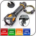 Rechargeable CREE XML T6 LED 1000lumen self defense emergency flashlight with alarm