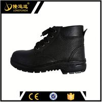 Black Middle Cut Embossed Leather Upper Rubber Outsole Short Safety Boot