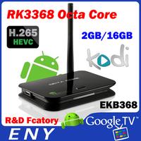 RK3368 16GB octa core CortexA53 1.5GHz PowerVR G6110 GPU 2.4GHZ 5.8G WiFi 802.11 b/g/n/AC (ap6335) android5.1 tv box