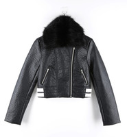 Broken Heart MOTO PU Leather Jacket with Fur Collar for Women Jacket Kurti