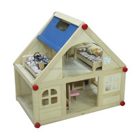 Wooden educational toys two storey wooden doll house for kids
