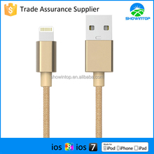 Hot sale 2015 MFI approved 10ft 8 pin connector gold nylon fabric braided multi usb charger cable for for iphone cables 3m