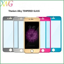 2.5D Curved edge 0.3mm Ultra slim Titanium alloy color tempered glass screen protectors for Iphone 6/6 plus
