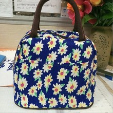 2015 fashionable ladies top quality flower printed canvas tote bag