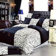 Zebra 100% cotton bed sheets for queen size fashion handmade bed sheets 4pcs