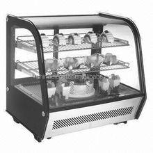 Table Top Freezer/ countertop freezer/ back glass door showcase for cake/four sided glass door refrigerator