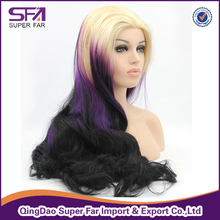 Custom purple lace front wigs synthetic wholesale