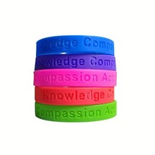 high quality advertising 160/180/190/202mm X 25/12/5 X 2.0mm debossed silicone wristband