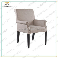 WorkWell fabric high quality dining room chair with Rubber wood legs Kw-D4129