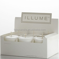 votive candle in a display box