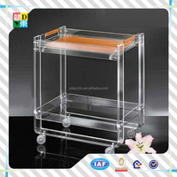 new idea customized clear acrylic tray table with wheels/simplely useful acrylic serving table from China manufacturer low price