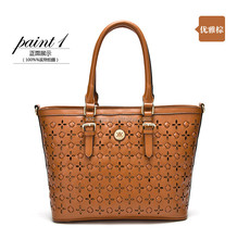 Elegance fashion leather handbag with flower texture ,2015 newest design for ladies