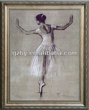 2014 Newest Dancing Girl Painting with Beautiful Frame