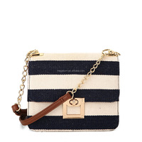 Casual Style Canvas Strips Crossbody Bag with Lock Flap