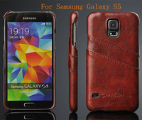 Luxury Crazy Horse Oil Wax Leather PU Leather Back Case Cover for Samsung Galaxy S5