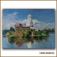 Handmade village scenery painting from photo