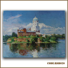 Handmade village scenery painting from photo