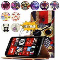 For Nokia Lumia 720 High Quality Print Card Holder Flip PU Folio Wallet Leather Case Cover Moible Phone Csae