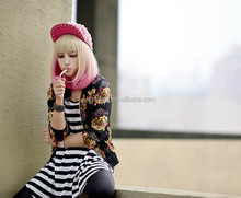 Bleach Blonde Pink Long New Woman Fashion Full Curly Wavy Sexy Cosplay Wigs