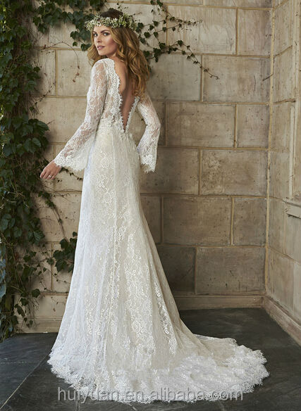 Charming Low Back Cut Long Sleeve Lace Grecian Style