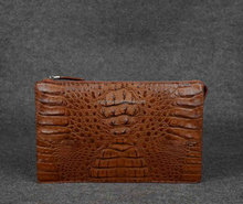 exotic zipper clutch bag with hand strap_crocodile handbag_ Real crocodile skin clutch bag