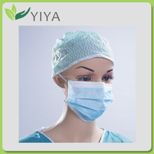 NON WOVEN 3 PLY FACE MASK WITH EAR LOOP, PLEATED FACE MASK MOISTURE BARRIER, LATEX FREE, EASY BREATHING, ADJUSTABLE NOSE CLIP.