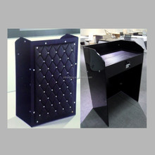Leather tempered glass reception desk in 12mm