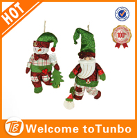 2014 Best selling decorative fabric christmas doll hanging snowman for christmas decoration