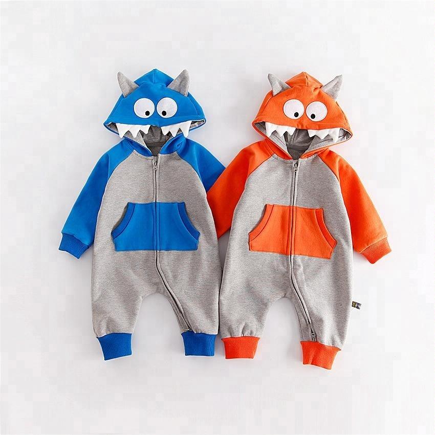 Bébé vêtements nouveau bébé vêtements grands yeux grands yeux zipper enfants ensemble barboteuse